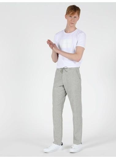 Colin's Colin'S Düz Paça Yüksek Bel Regular Fit Çizgili  Erkek Pantolon Gri